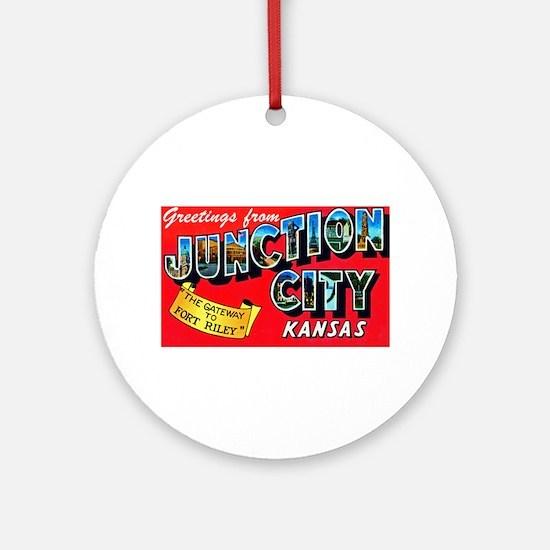 Junction City Kansas Greetings Ornament (Round)