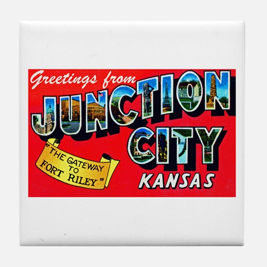 Junction City Kansas Greetings Tile Coaster