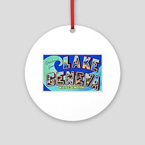 Lake Geneva Wisconsin Greetings Ornament (Round)