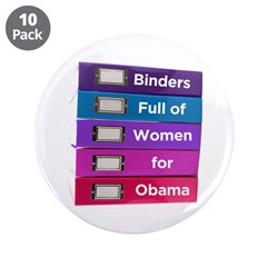 """Binders Full of Women for Obama 3.5"""" Button ("""