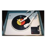 Vinyl record and vintage Sticker (Rectangle 10 pk)