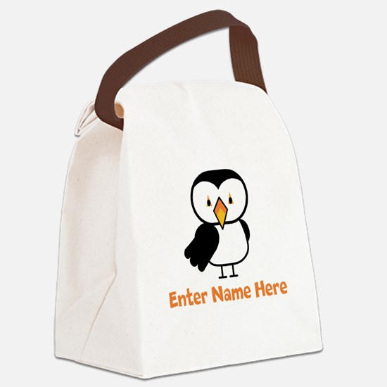 Personalized Puffin Canvas Lunch Bag