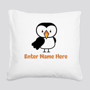Personalized Puffin Square Canvas Pillow