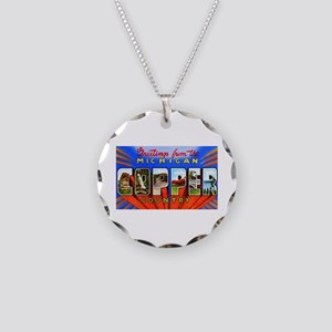 Michigan Copper Country Necklace Circle Charm