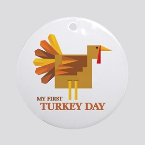 First Turkey Day Ornament (Round)