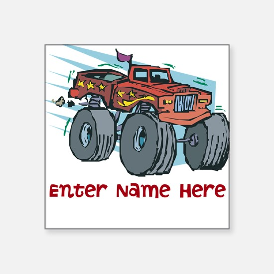 """Personalized Monster Truck Square Sticker 3"""" x 3"""""""