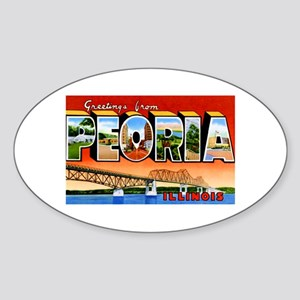 Peoria Illinois Greetings Sticker (Oval)