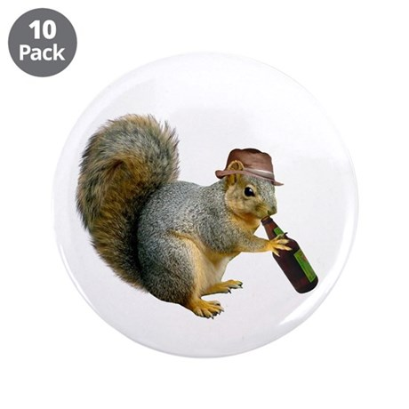 """Squirrel Beer Hat 3.5"""" Button (10 pack)"""