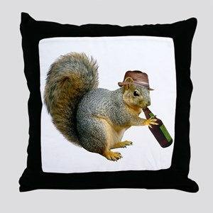 Squirrel Beer Hat Throw Pillow