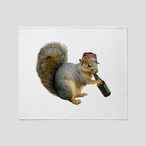 Squirrel Beer Hat Throw Blanket