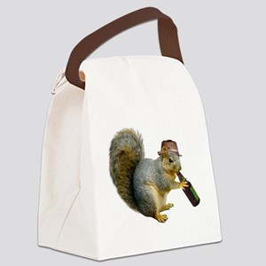 Squirrel Beer Hat Canvas Lunch Bag