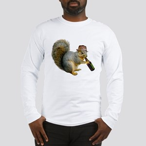 Squirrel Beer Hat Long Sleeve T-Shirt