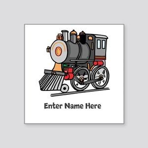"Personalized Train Engine Square Sticker 3"" x 3"""