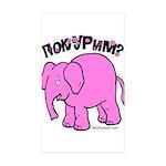 Pink Elephant Sticker (Rectangle 10 pk)