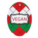 Vegan Christmas Argyle Ornament (Oval)