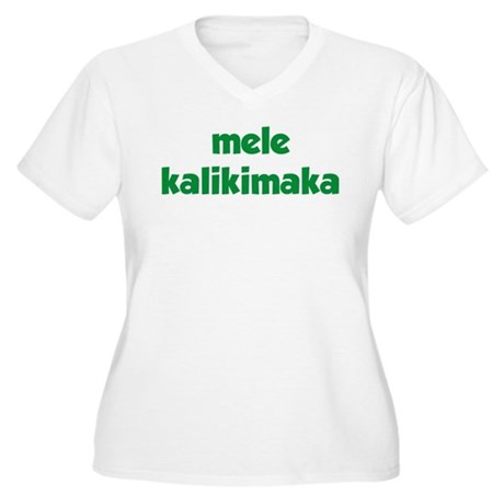 Mele Kalikimaka Women's Plus Size V-Neck T-Shirt