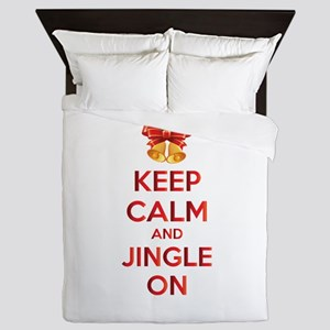 Keep calm and jingle on Queen Duvet