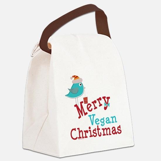 Merry Vegan Christmas Canvas Lunch Bag