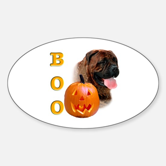 Halloween Bullmastiff Boo Oval Decal