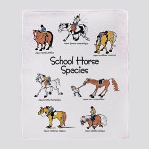 School Horse Species Throw Blanket