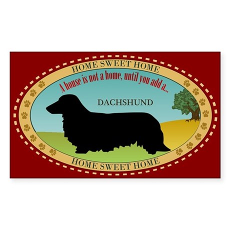 Dachshund [long-haired] Sticker (Rectangle)