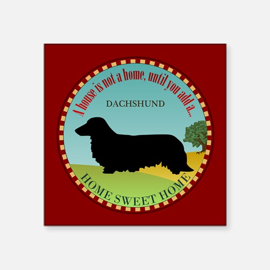 """Dachshund [long-haired] Square Sticker 3"""" x 3"""""""