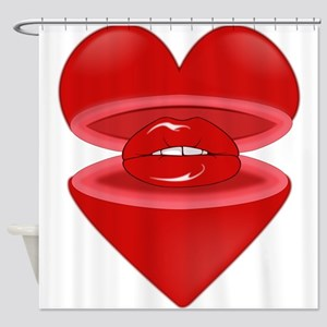 Heart with Lips Inside Shower Curtain