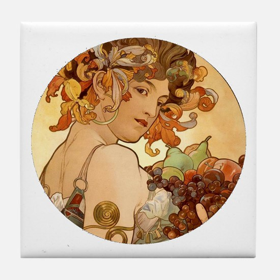 round mucha.png Tile Coaster