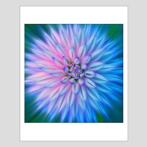 Blue Starburst Flower Small Poster