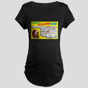 Oklahoma Map Greetings Maternity Dark T-Shirt