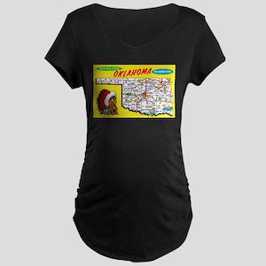 Oklahoma Map Greetings Maternity Dark T-Shirt