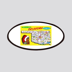 Oklahoma Map Greetings Patches