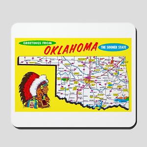 Oklahoma Map Greetings Mousepad