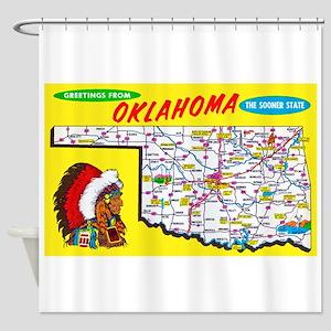 Oklahoma Map Greetings Shower Curtain