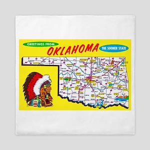 Oklahoma Map Greetings Queen Duvet