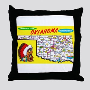 Oklahoma Map Greetings Throw Pillow