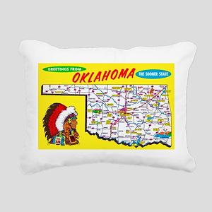 Oklahoma Map Greetings Rectangular Canvas Pillow