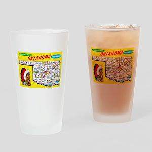 Oklahoma Map Greetings Drinking Glass