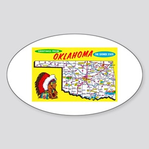 Oklahoma Map Greetings Sticker (Oval)