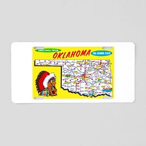 Oklahoma Map Greetings Aluminum License Plate