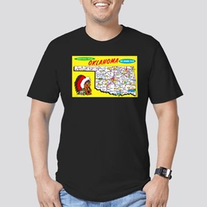 Oklahoma Map Greetings Men's Fitted T-Shirt (dark)