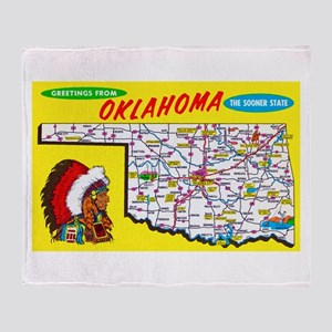 Oklahoma Map Greetings Throw Blanket
