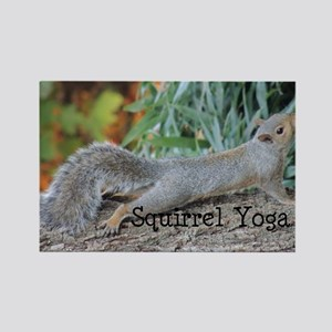 Squirrel Yoga Rectangle Magnet