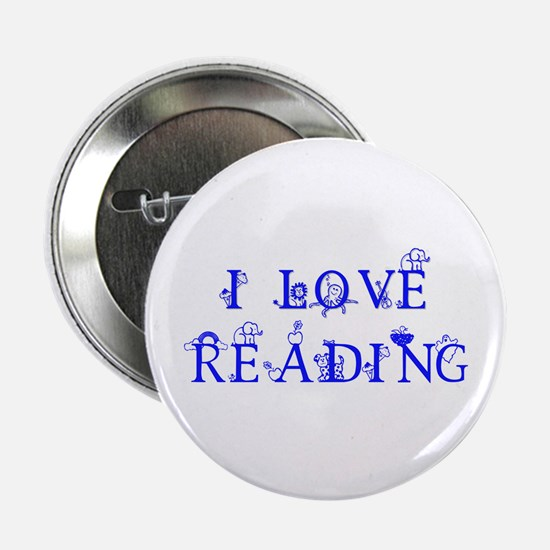 """I LOVE READING! 2.25"""" Button (10 pack)"""