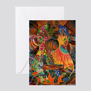 Phoenix Bird of Fire Guitar Greeting Card