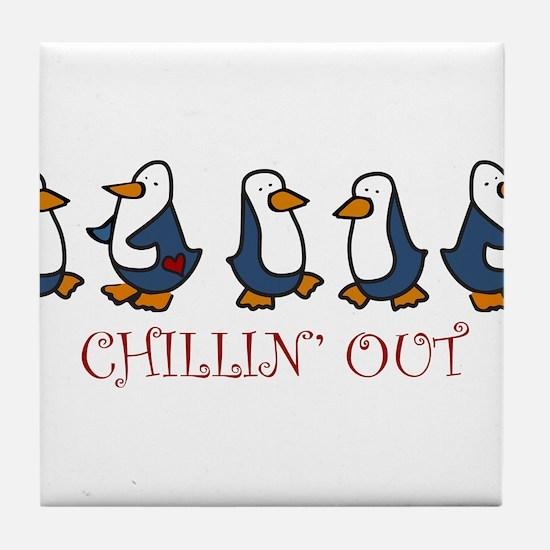 Chillin Out Penguins Tile Coaster
