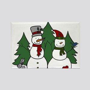 Holiday Snowmen Rectangle Magnet