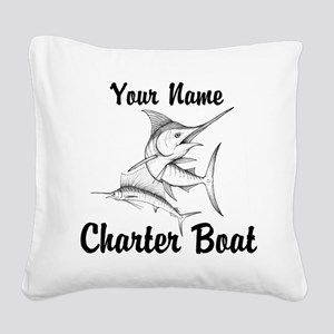 Custom Charter Boat Square Canvas Pillow