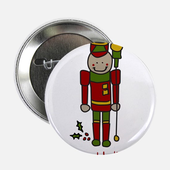 """Holiday Nut Cracker 2.25"""" Button"""