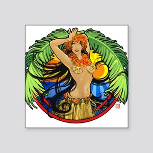 Hawaiian Hula Girl Oval Sticker